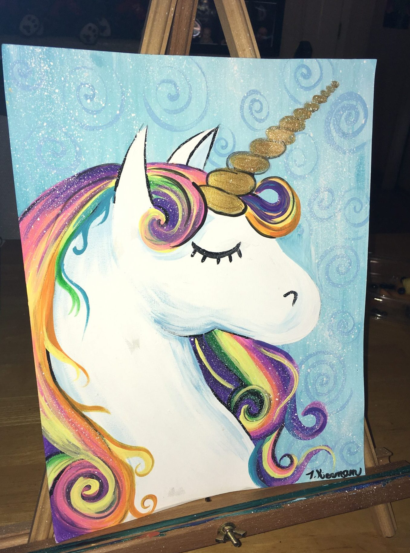 How To Paint A Rainbow Unicorn - Easy Step By Step Painting - photo#5