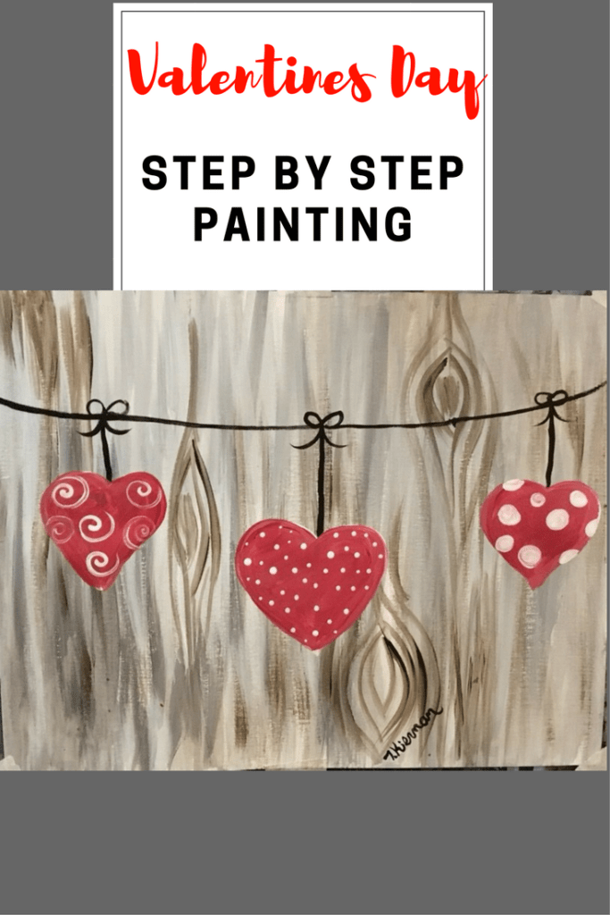 How To Paint Hearts On A String Tracies Acrylic Canvas