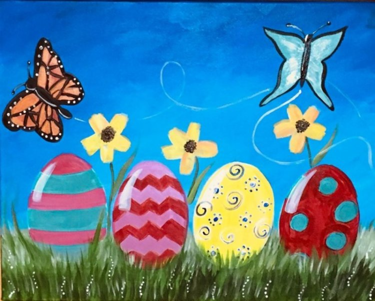 Beginners and kids can learn how to paint this easy Easter egg landscape with acrylic paint on canvas! This bright and cheery painting has two butterflies, yellow flowers and patterned Easter eggs sitting on green grass with a bright blue sky. You will be guided step by step with detailed pictures, instructions, a material list and a video!