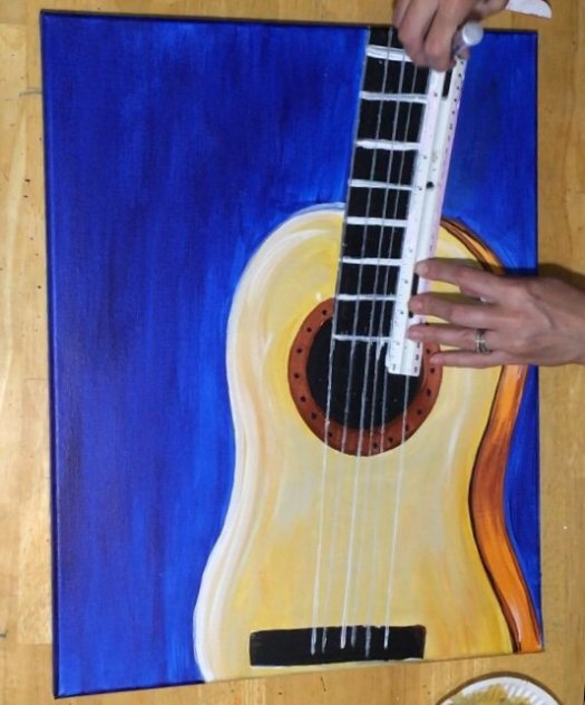 how to paint starry night guitar step by step painting. Black Bedroom Furniture Sets. Home Design Ideas