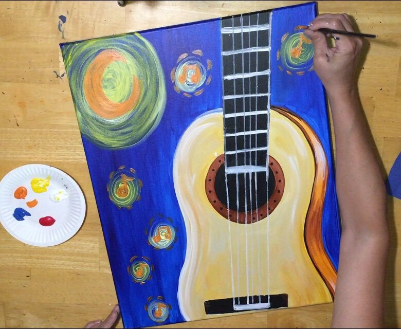 Contour Line Drawing Guitar : How to paint starry night guitar step by painting