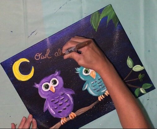 "Easy Owl Painting ""Owl Always Love You"" - Step By Step ..."