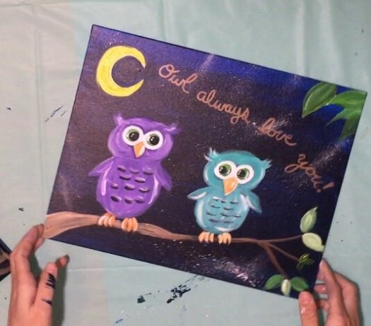 """Easy Owl Painting """"Owl Always Love You"""" - Step By Step ..."""