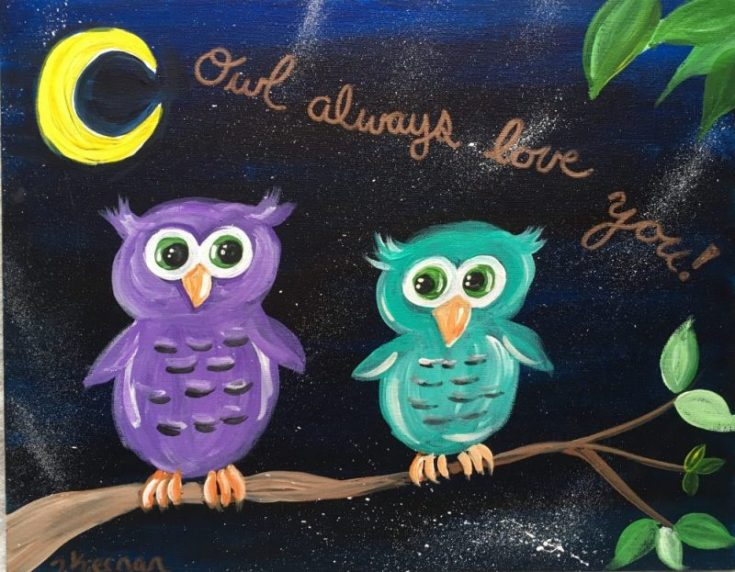 "Easy Owl Painting ""Owl Always Love You"""