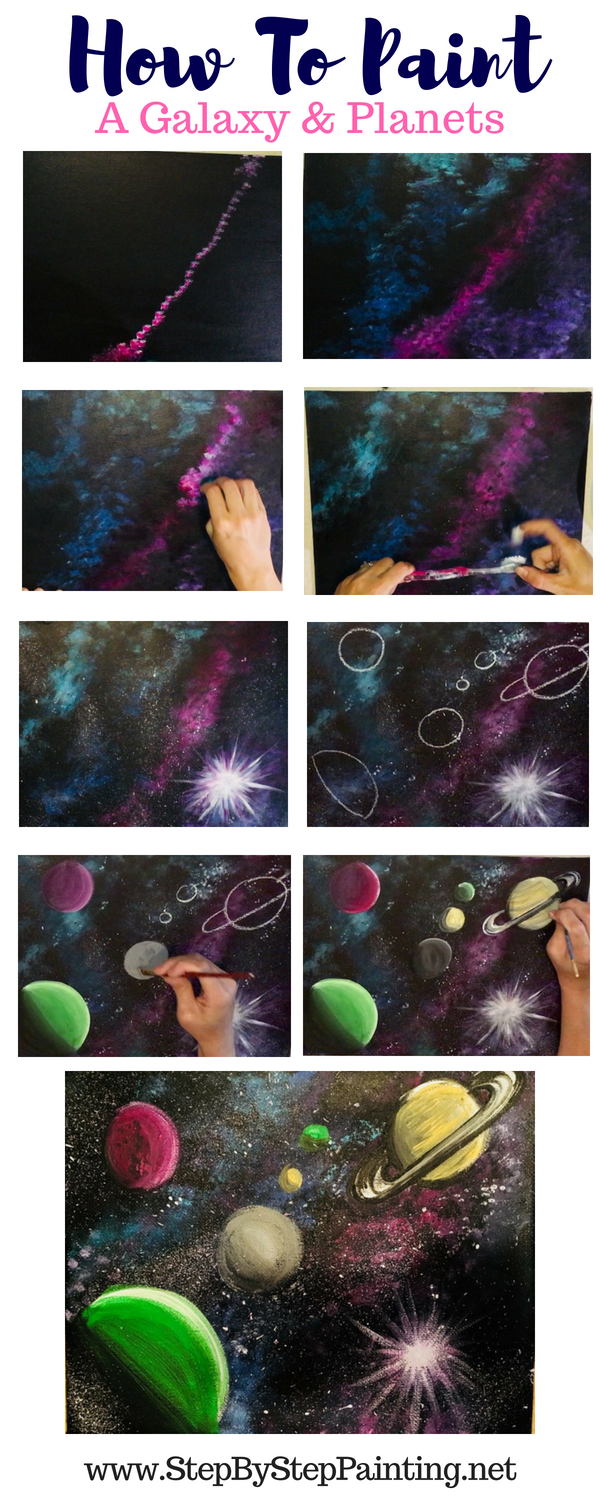 How To Paint A Galaxy - Step By Step Painting For Beginners