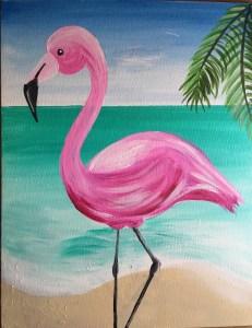 Flamingo, beach painting