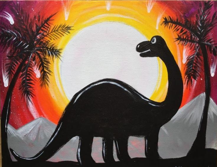 Dinosaur Silhouette Painting