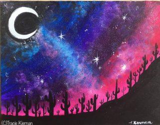 night painting paint desert galaxy sky acrylic canvas space step landscape beginners tutorials acrylics beginner tutorial cactus jar stepbysteppainting designs