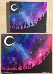 painting acrylic easy sky night desert landscape galaxy tutorial paintings paint step star beginners learn cactus
