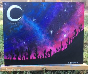 painting desert night easy paintings landscape galaxy acrylic beginners paint sky step cactus tutorial clouds