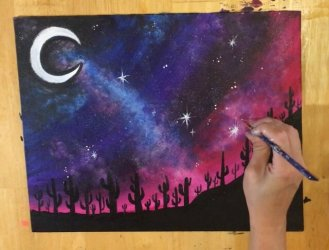 easy painting galaxy drawing landscape paintings night acrylic desert paint beginners cactus drawings sky step sparkling finished paintingvalley