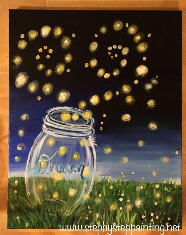 easy canvas painting for beginners, firefly painting, firefly painting tutorial, lightning bug painting, lightning bug painting tutorial, mason jar #firefly #lightningbug