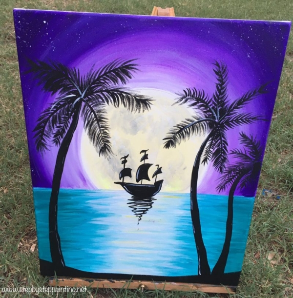 How To Paint Tropical Moon Rise With Ship