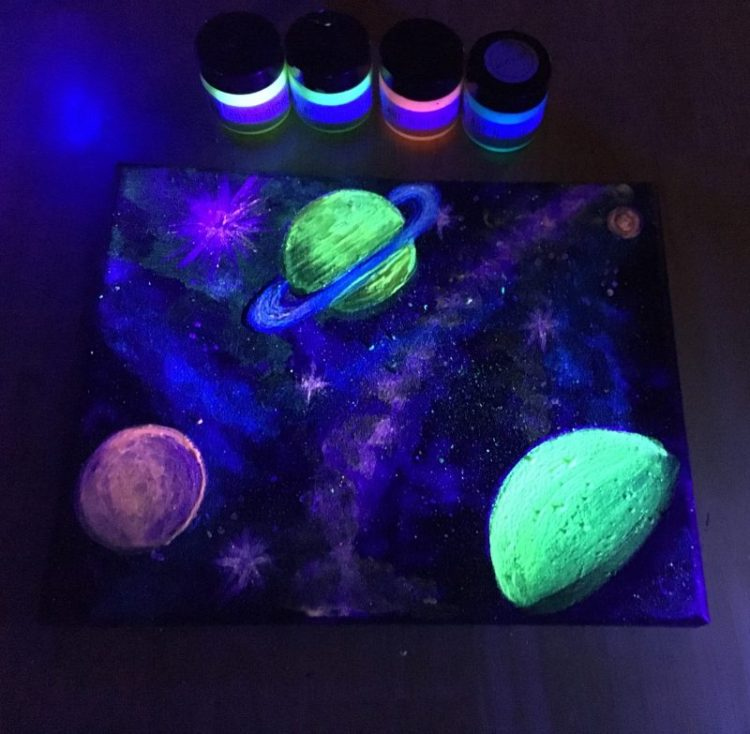 Planets painting glow in the dark
