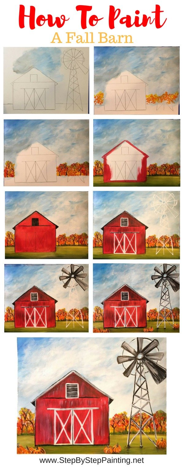 How To Paint A Fall Barn Tutorial With Decoart Americana Premium Paints Step By Step Painting With Tracie Kiernan
