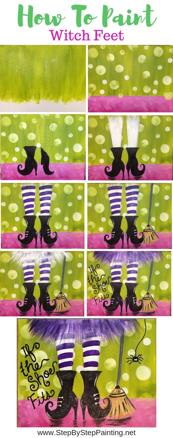 Halloween canvas painting, how to paint witch feet, easy acrylic canvas tutorial with traceable.
