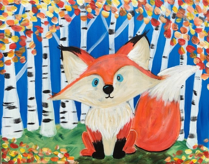 How To Paint A Fox and Birch Trees