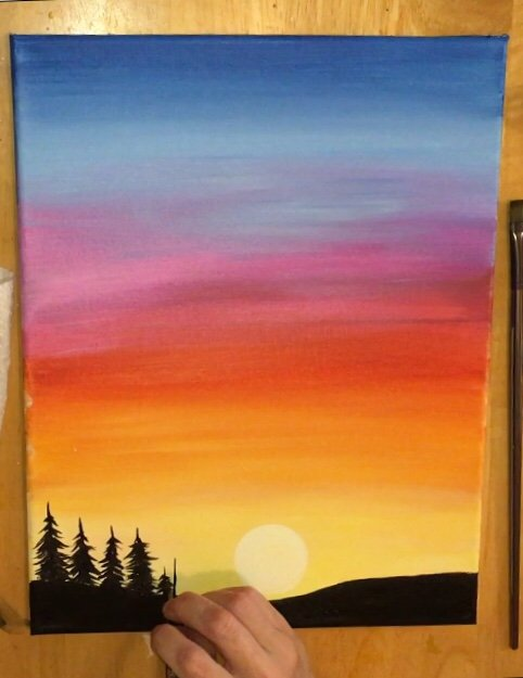 Water Paint Art Sunset