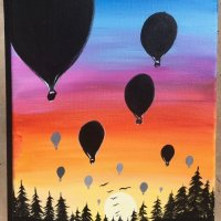 How To Paint A Sunset - Hot Air Balloon Silhouettes
