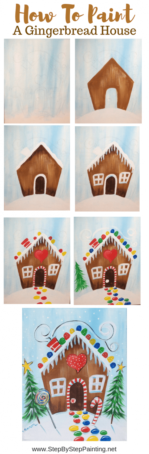 Step by step painting with Tracie Kiernan, How to paint a gingerbread house on canvas, christmas painting ideas on canvas