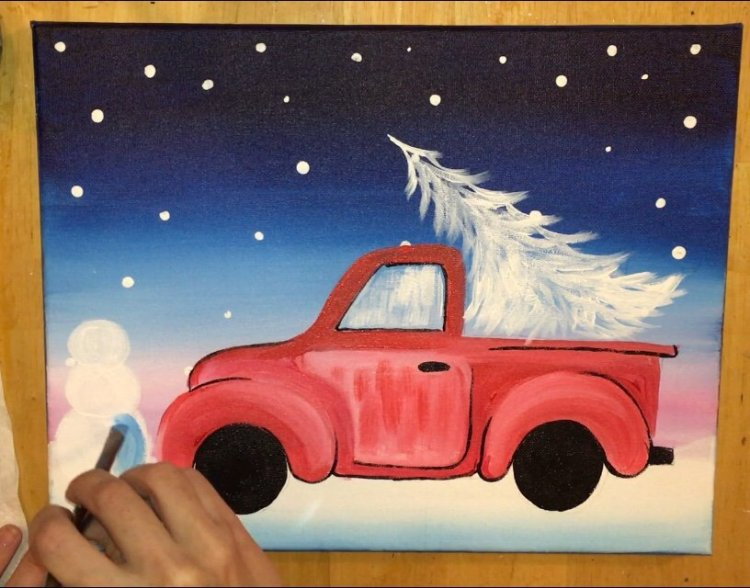 Old Truck With Christmas Tree Painting.How To Paint A Christmas Tree Truck Step By Step Painting