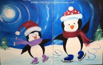 Couple's Penguin Painting