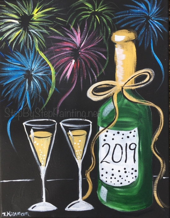 How To Paint New Years Bubbly & Fireworks