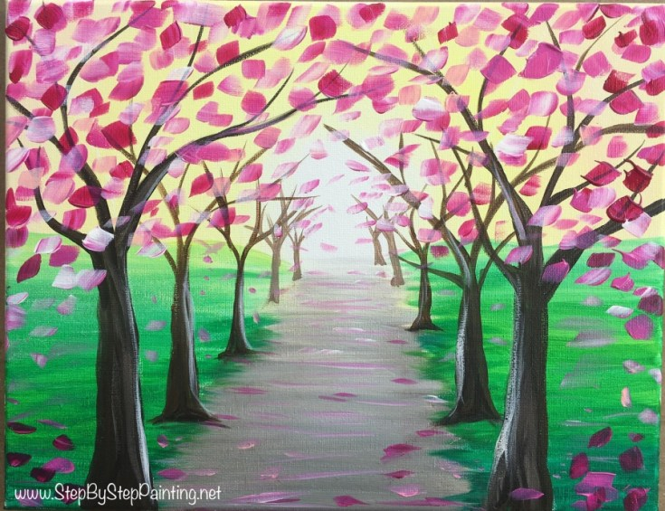 How To Paint A Spring Tree Path