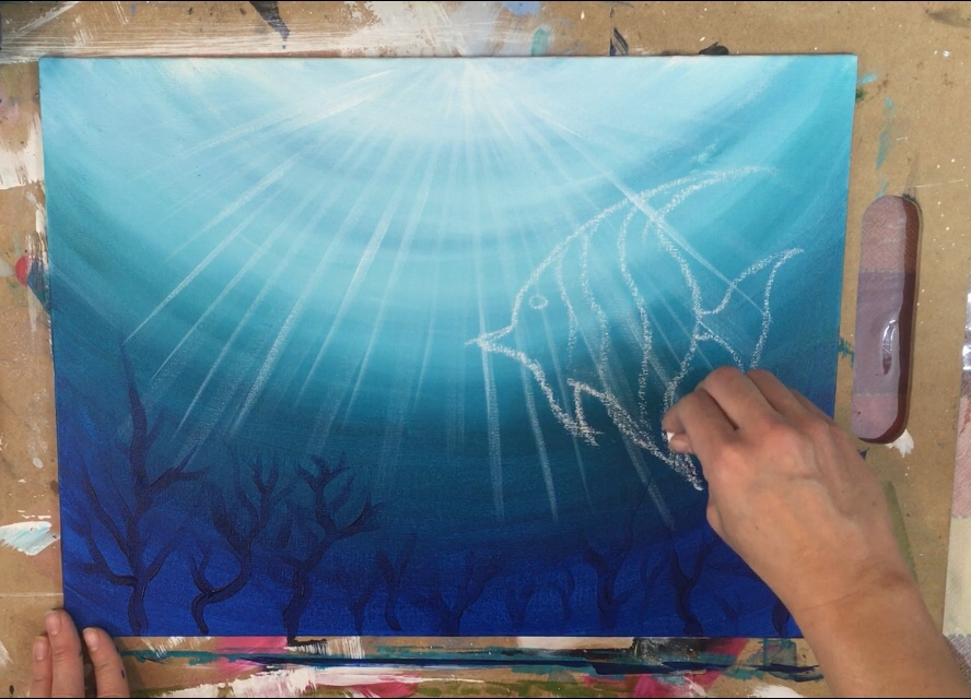 Underwater Painting Step By Step Acrylic Tutorial With Pictures