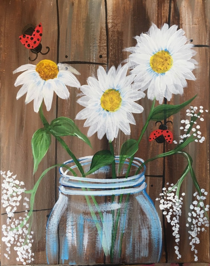 Daisy Painting With Rustic Wood Background