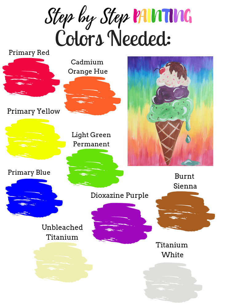 This is a color palette for the ice cream cone painting.