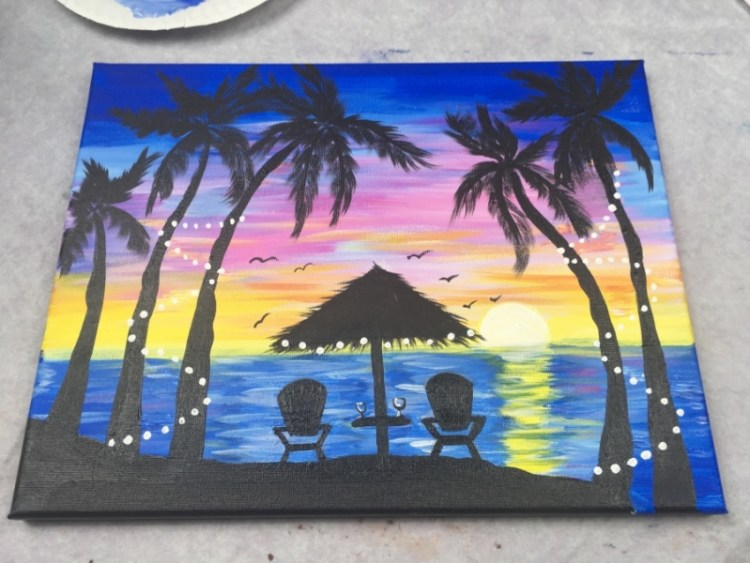 How To Paint A Palm Tree Sunset Step By Step Painting