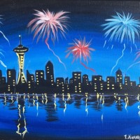 How To Paint City Skyline With Space Needle