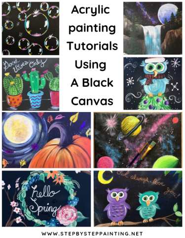 Black Canvas Painting Tutorials For Beginners Step By Step Painting