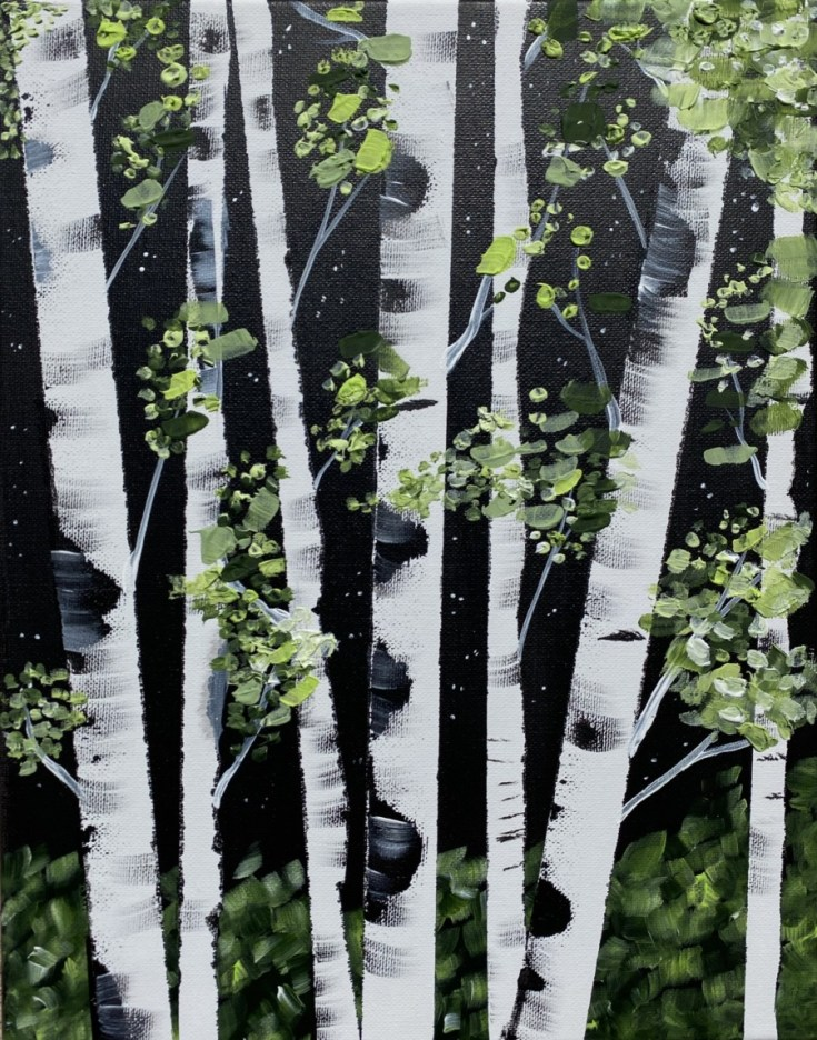 Spring Birch Trees - With Impasto Technique