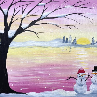 Winter Sunset With Snowmen Acrylic Painting Tutorial