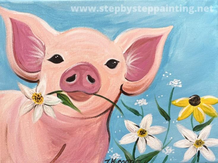 Spring Pig Acrylic Painting Tutorial