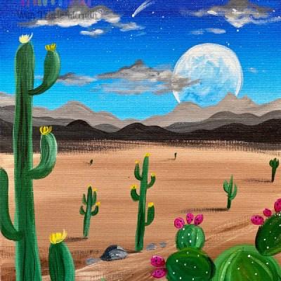 Desert Landscape Painting Tutorial – Night Desert Scene