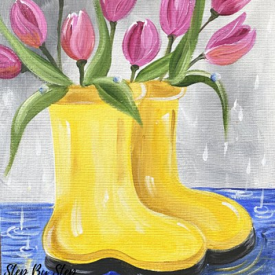 Tulips In Rain Boots Painting