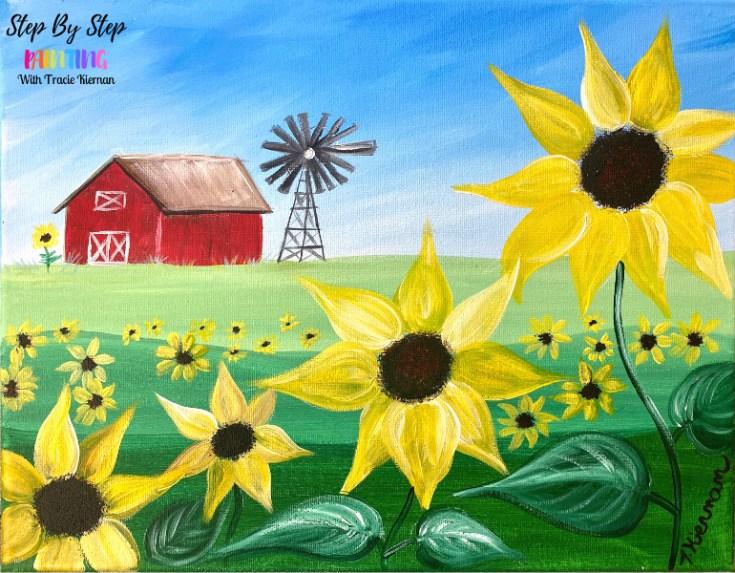 Sunflower Farm Acrylic Painting Tutorial