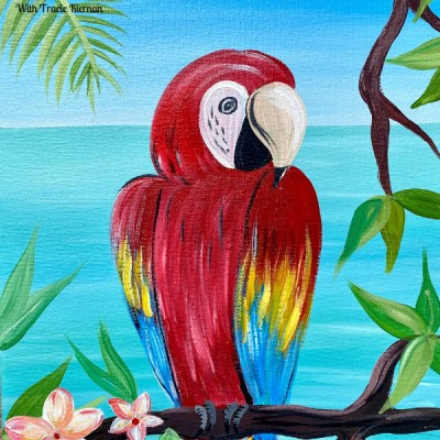 Tropical Macaw Parrot Painting