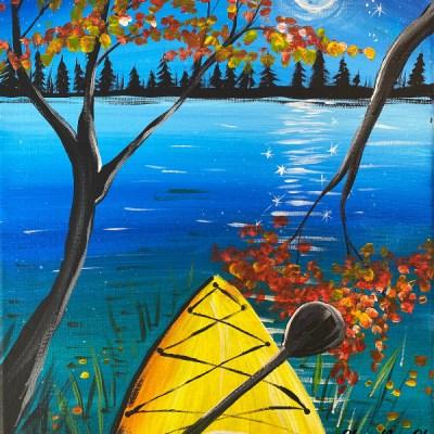 Moonlight Kayak Acrylic Painting Tutorial