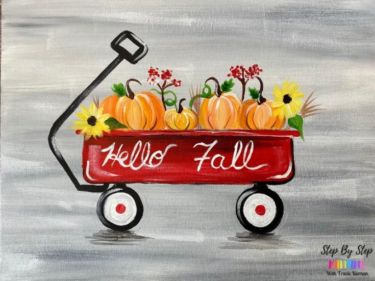 Pumpkin Wagon Acrylic Painting Tutorial