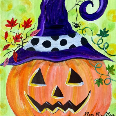 Jack O' Lantern With Witch Hat Painting Tutorial