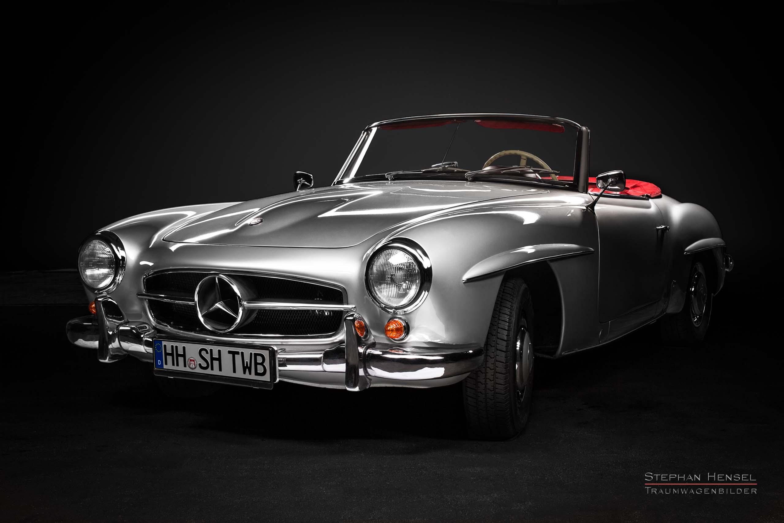 Mercedes-Benz 190 SL, Ansicht von vorn links, Autofotograf: Stephan Hensel, Oldtimerfotograf, Hamburg