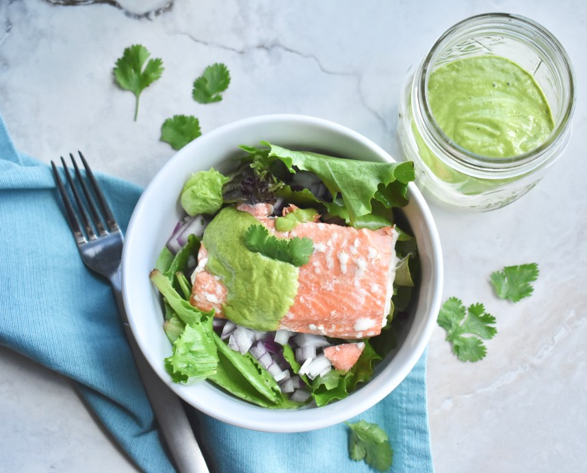 Salmon Salad + Spicy Cilantro and Avocado Dressing--Recipe at: stephanie-spring.com