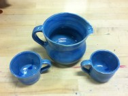 Loved the brightness of the blue glaze and boy did these take some time to make.