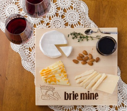 cheese board punny wine glasses Camembert Brie cheddar Parmesan almonds jam jelly valpolicella thyme lace vintage doily
