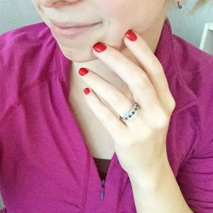 365 days of happy project - day 189 - stephanie de montigny - wedding band diamond ring red nails shellac