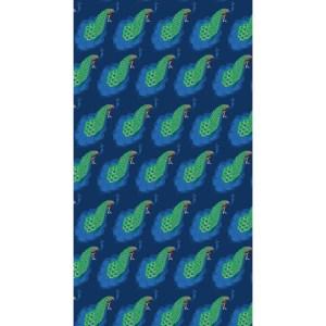 tissu_panneau_paons fond bleu_raccord hauteur 75cm_140x255cm